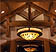 Rustic timber ceiling trusses and detail custom light fixture