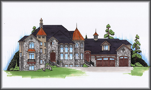 Two Story House with 5 Bedrooms Floor Plan, Elevation Drawing